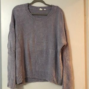 Soft grey chenille sweater.